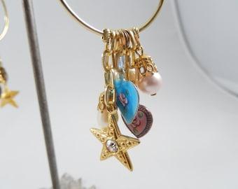 70s Goldtone Hoop Earrings with Charms