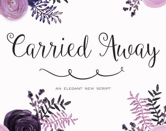 Carried Away and Monogram Bonus Cursive Script Font Download Personal or Commercial (original Ballerina Script)
