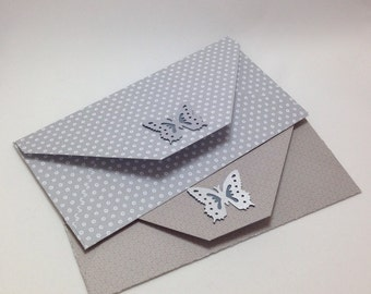 Set of Two Grey Butterfly Envelopes