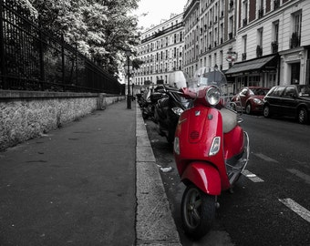 "Scooter in Montmatre Paris - 16"" x 12"" Photographic Print"