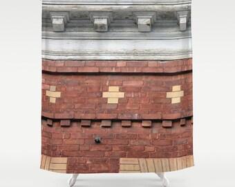 Brick Facade 3,Shower Curtain,Red,Rustic,Architectural Curtain,Bathroom Decor,Accessories,Bathroom Art,Designer Curtain,Interior Design
