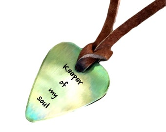 Guitar Pick Necklace - Keeper of my soul - Antique Distressed - Hand Stamped Necklace Leather - BFF Gift