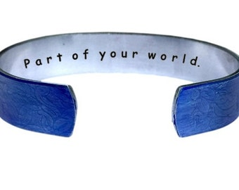 Part of your world.  Cuff Bracelet Personalized Jewelry Hand Stamped | Sister Gifts | Blue Aluminum