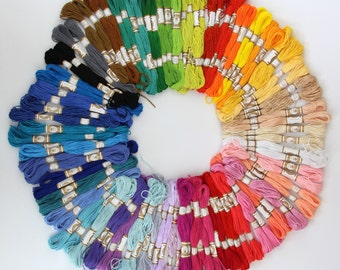 100 x Mix Colors Cross Stitch Cotton Sewing Skeins Embroidery Thread Floss Kit (SKU: CTJZ21-FSC-50SKEINS)