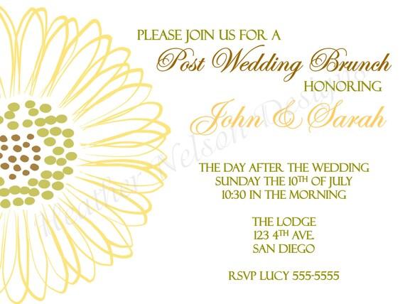 Sunflower Post Wedding Brunch Invitation By DesignsofHeather