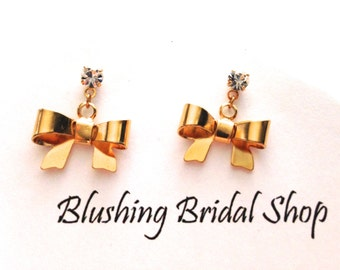 Charming Crystal Post and Gold Bow Dangling Earrings