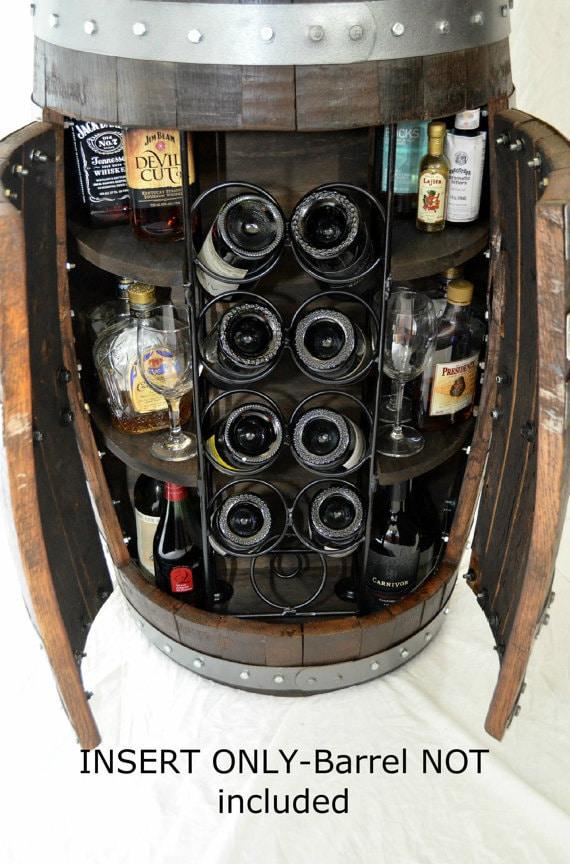 Wine barrel whiskey barrel liquor cabinet custom RACK INSERT for a DIY whiskey barrel or wine barrel liquor storage cabinet
