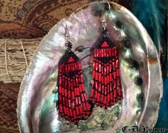 Native Beaded Earrings in Black and Red