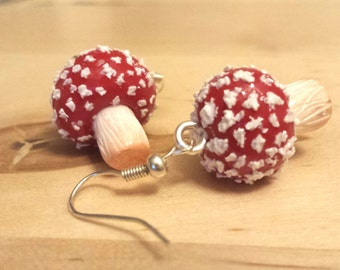 Poisonous Red and White Speckled Toadstool Mushroom Fungi Nature Earrings