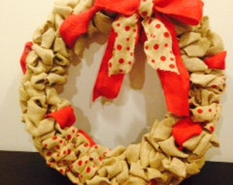 Red accent burlap wreath