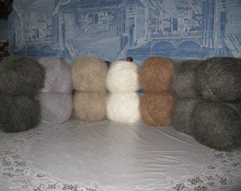 Down yarn. Yarn for knitting down. Yarn made of goat down.