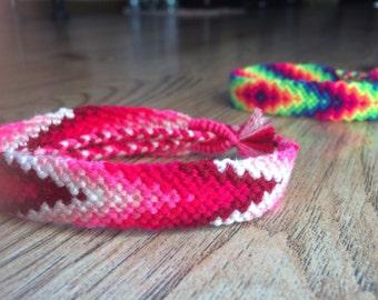Friendship Bracelet.Handwoven.Knotted.Wrap.Braided bracelet.Splash.Wave.Friendship jewelry.Best friend.Gift.Love.Red.Pink.Girl.Woman.Summer