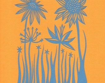 Wild Flower Papercut Print
