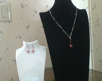 Crocheted Copper Wire Necklace and Earring Set