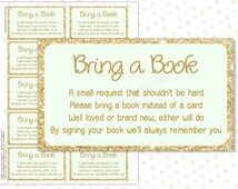 Bring a book instead of a card Mint Gold (INSTANT DOWNLOAD) - Bring a book baby shower insert - Mint and gold baby shower
