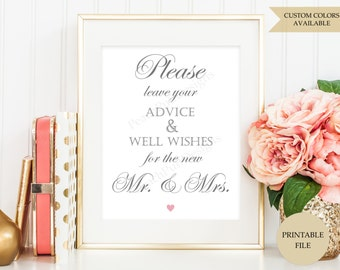 Advice and well wishes sign (PRINTABLE FILE) - Advice sign - Advice for the Bride and Groom - Wishing well sign - Wishing tree sign