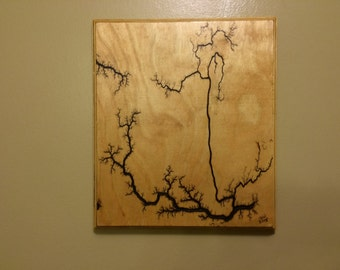 Wood Wall Art, Lichtenberg Figures, electricity, free shipping (W1APR)