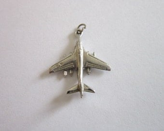 Sterling Silver 3D Jet Plane Airplane CHARM - Vintage
