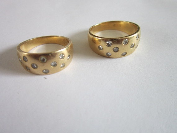 estate 14kt yellow gold diamonds his hers matching wedding