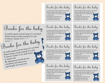 Books for the baby insert, bring a book insert, bring a book baby shower insert, Teddy Bear Baby Shower Games Printables, Baby Boy TLC33