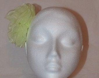 Pale green flower hair accessory, fascinator, handmade