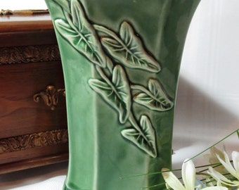 Glazed Green Footed Vase with Raised Leaves