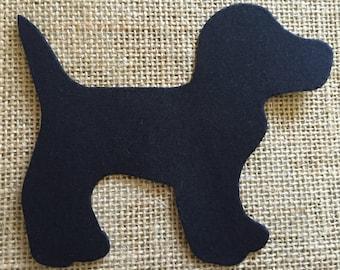 Fabric Iron on Black Dog