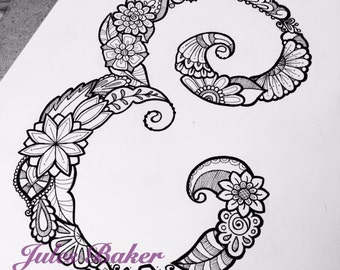 "Digital Coloring Page - Letter E from ""Letter Doodles"" Coloring Book"