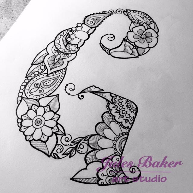 Digital Coloring Page Letter G From