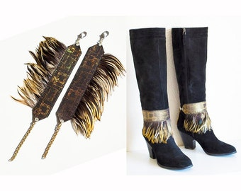 Burning Man Holographic Gold Feather Boots Decoration Boot Covers Anklets Cuffs