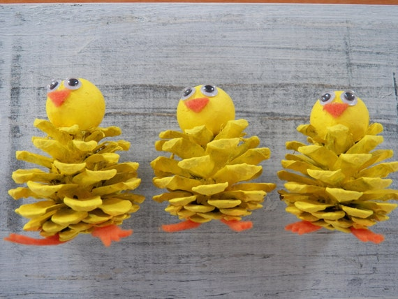 Chick Peeps Pine Cone Easter Craft Ornament Pine Cone Craft