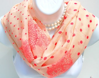 Polka Dots Infinity Scarf. Hot Pink & Beige Scarves.Coral Pink Scarf.Lightweight Cowl Scarf.Spring Scarf.Summer Scarf.Summer Infinity Scarf