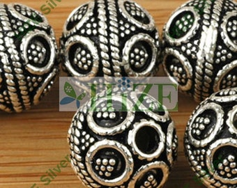 HIZE BB360 925 Bali Sterling Silver Heavy Ornate Round Beads 12mm (2)