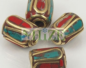 HIZE TBE83 Tibetan Turquoise Coral Inlaid Brass Tubular Beads 9mm (6)