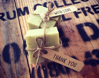 PACK OF 25, mini soap wedding favour 'with love/thank you' tags