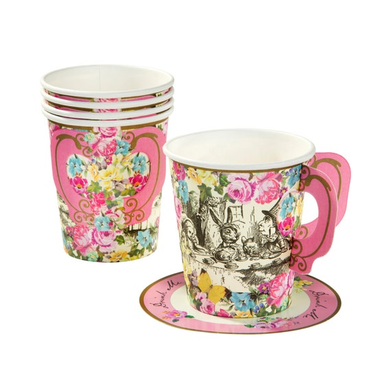 Set Of 6 Alice In Wonderland Vintage Style Paper Tea Cup And