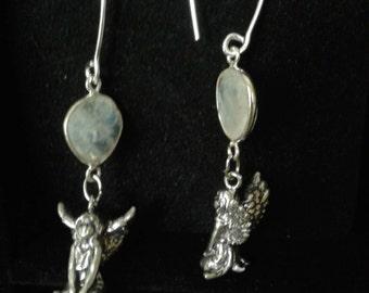 Moon stone and fairy earrings