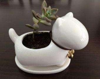 Miniature Dog Succulent Planter / Modern Art Centerpiece / Home Decoration / Miniature Desktop Garden