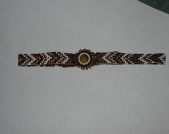 Hand Beaded Choker Necklace Tiger Eye Stone Beautiful!