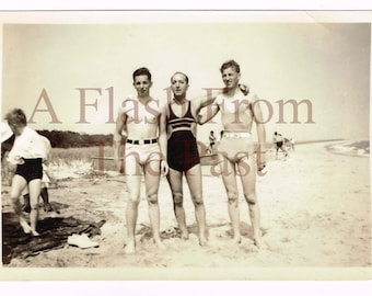 Vintage Photo 3 Men on the Beach Pose in Swimsuits