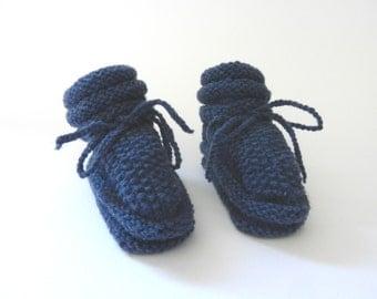 Baby booties dark blue