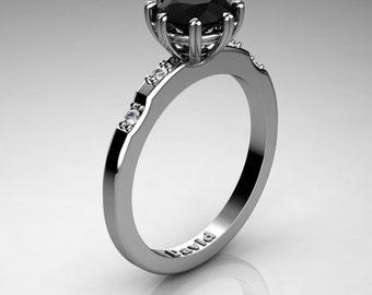 Classic 950 Platinum 1.0 Carat Black Diamond Diamond Solitaire Engagement Ring R1005-PLATDBD