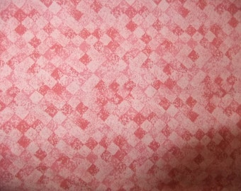 Pink Shaded Geometric Print Cotton Quilting Fabric, 3 3/4 Yards, Estate Find