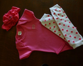 "3-6m ""Little Princess"" Hot Pink Front/Back Rhinestones Outfit"
