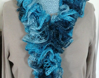 Hand Knit Ruffled Scarf