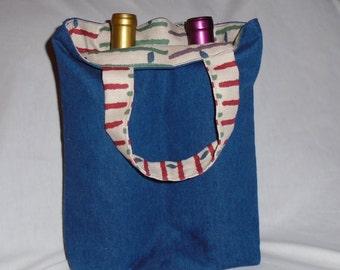 Multi-Purpose Denim & Canvas Fabric Wine/Shoe Tote with Two Pouches