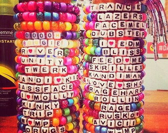 20 custom Kandi bracelets. Choose any colors and phrases!