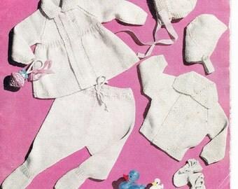 Vintage baby boy or girl pram set in double knitting - PDF Download