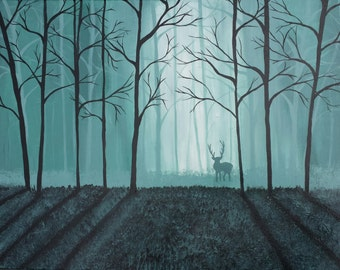 Hidden forest acrylic painting on canvas by SASA expressions - Size 18x24x3/4