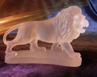 Glass Lion Sculpture : Pate de Verre